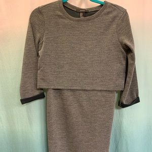 Bodycon dress with long sleeve separated top